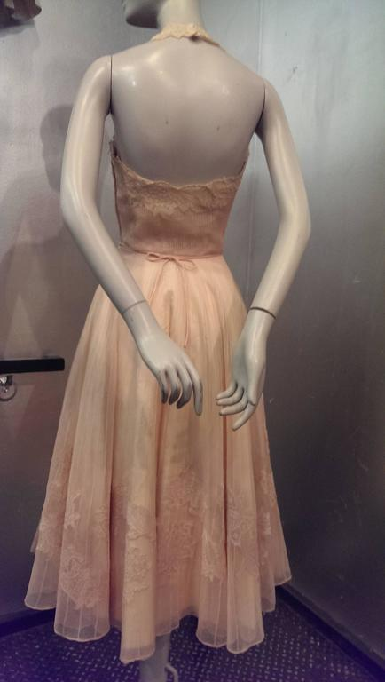 Brown 1950s Karen Stark for Harvey Berin Pink Pin-Tuck Organza and Lace Halter Dress For Sale