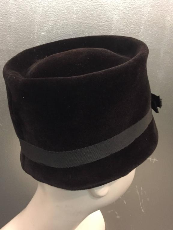 Black 1960s Christian Dior Velvet Equestrian Style Hat W/ Bow  For Sale