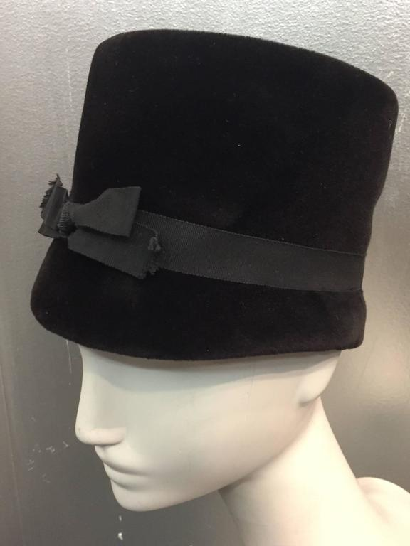 1960s Christian Dior Velvet Equestrian Style Hat W/ Bow  2