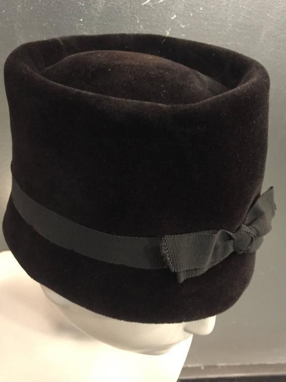 Women's 1960s Christian Dior Velvet Equestrian Style Hat W/ Bow  For Sale