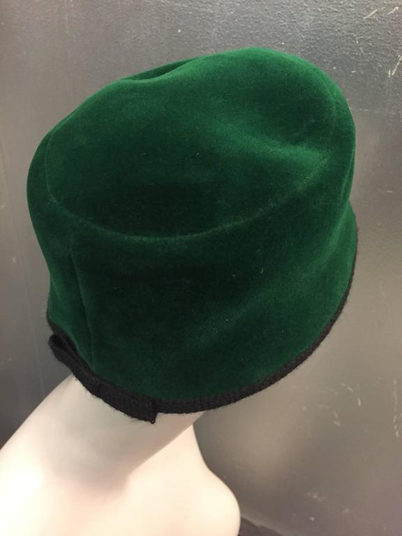 Women's 1960s Christian Dior Evergreen Velvet Felt Fez Style Hat W/ Knit Back Bow For Sale