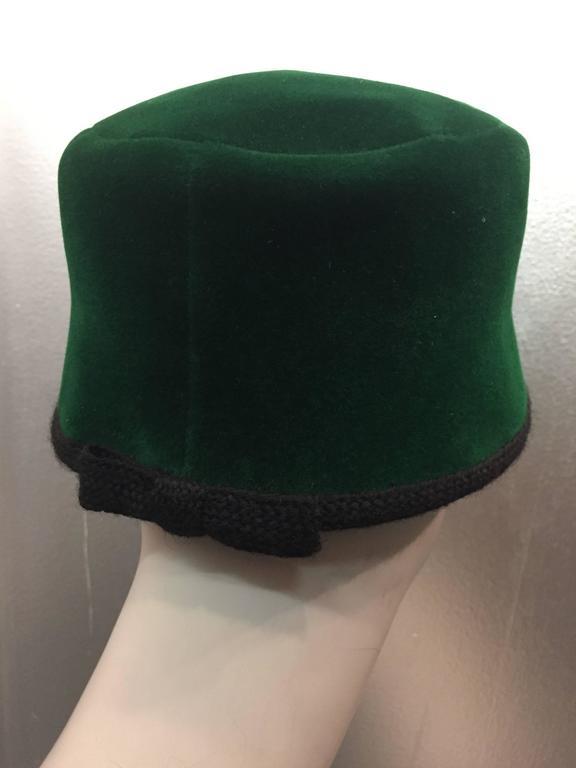 1960s Christian Dior Evergreen Velvet Felt Fez Style Hat W/ Knit Back Bow 3