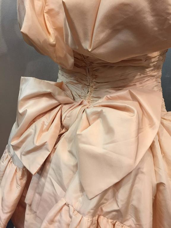 1980s Arnold Scaasi Shell Pink Tissue Silk Strapless Ruffled Ball Gown For Sale 2