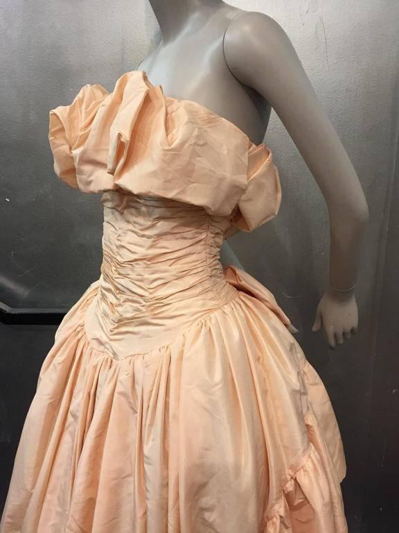 1980s Arnold Scaasi Shell Pink Tissue Silk Strapless Ruffled Ball Gown 5