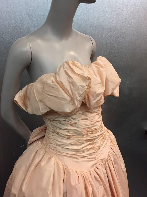 1980s Arnold Scaasi Shell Pink Tissue Silk Strapless Ruffled Ball Gown In Excellent Condition For Sale In San Francisco, CA