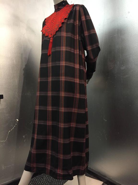 1980s Zandra Rhodes Tartan Plaid Wool Challis Caftan w Painted Suede Bib Front For Sale 1
