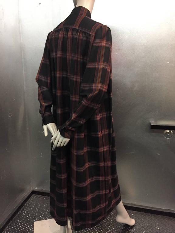 1980s Zandra Rhodes Tartan Plaid Wool Challis Caftan w Painted Suede Bib Front In Excellent Condition For Sale In San Francisco, CA