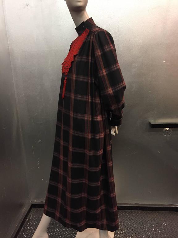 Brown 1980s Zandra Rhodes Tartan Plaid Wool Challis Caftan w Painted Suede Bib Front For Sale