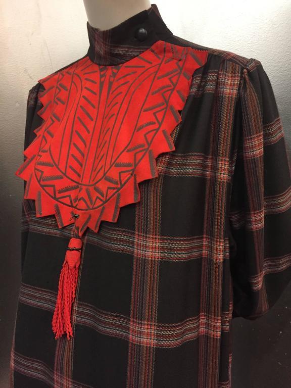 Women's 1980s Zandra Rhodes Tartan Plaid Wool Challis Caftan w Painted Suede Bib Front For Sale