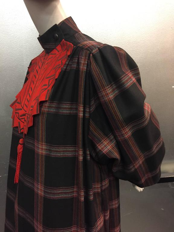 1980s Zandra Rhodes Tartan Plaid Wool Challis Caftan w Painted Suede Bib Front For Sale 2