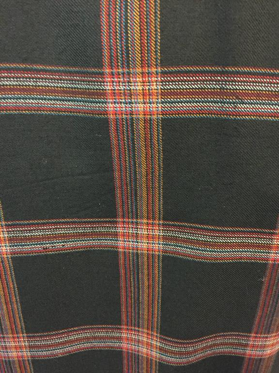 1980s Zandra Rhodes Tartan Plaid Wool Challis Caftan w Painted Suede Bib Front For Sale 4
