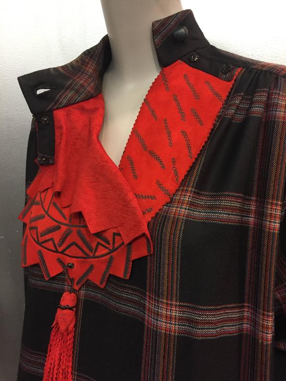 1980s Zandra Rhodes Tartan Plaid Wool Challis Caftan w Painted Suede Bib Front For Sale 3