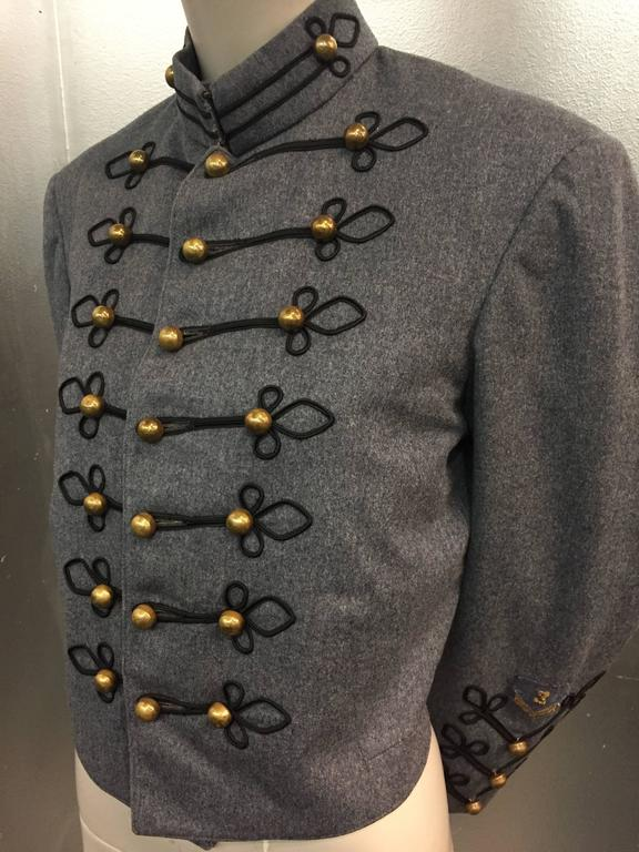 1950's Slate and Black Wool Military Band Jacket  4