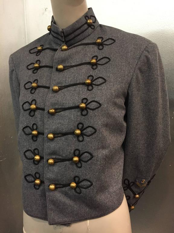1950's Slate and Black Wool Military Band Jacket  6