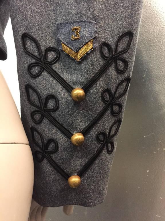 1950's Slate and Black Wool Military Band Jacket  7