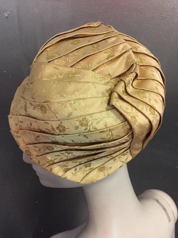 Brown 1950s Tatiana Gold Silk Lamé Brocade Pleated Asymmetrical Cocktail Hat For Sale