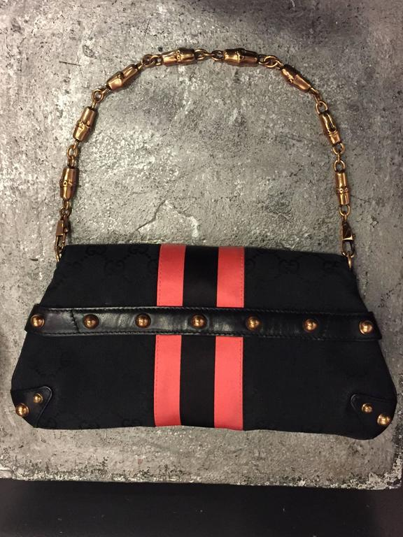 Tom Ford for Gucci Racing Stripe and D-Ring Snaffle Bit Canvas Purse For Sale 3