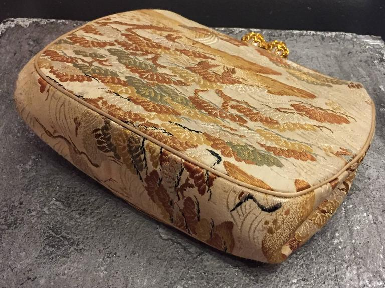 1950s Koret Asian Brocade Clutch Evening Bag with Gold and Pearl Clasp In Excellent Condition For Sale In San Francisco, CA