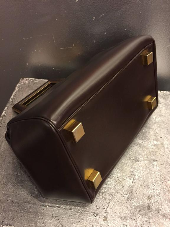 1960s Judith Leiber Cocoa Brown Leather Doctors-Style Handbag w Brass Details 5