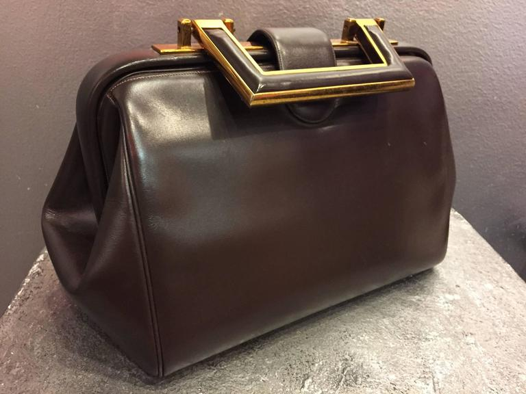1960s Judith Leiber Cocoa Brown Leather Doctors-Style Handbag w Brass Details 2