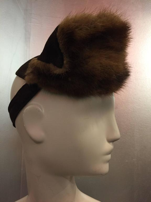 "Black 1940s ""Lady Fair"" Mink and Felt Tilt Hat with Large Bow For Sale"