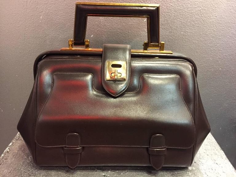 1960s Judith Leiber Cocoa Brown Leather Doctors-Style Handbag w Brass Details 3