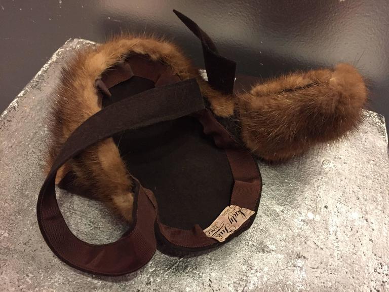 "1940s ""Lady Fair"" Mink and Felt Tilt Hat with Large Bow For Sale 1"