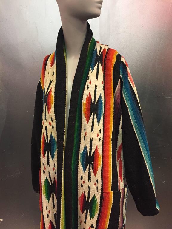 1940s Vivid Hand Woven Wool Chimayo Robe Style Duster W