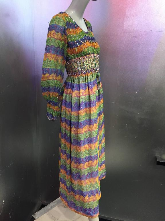 1970s Valentina Marble Print Tiered and Sequin Embellished