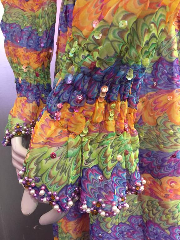 Women's 1970s Valentina Marble Print Tiered and Sequin Embellished