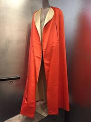 1950s Vivid Coral and Cream Reversible Silk-Satin Floor-Length Opera Cape
