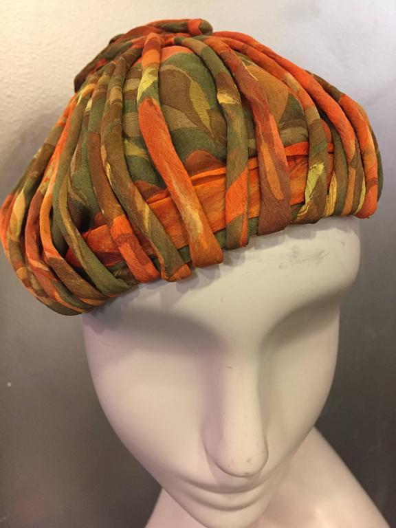 Brown 1950s James Galanos Autumnal Silk Chiffon Beret-Style Hat w Bias Cording For Sale