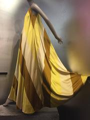 "1960s ""Modern Couture"" Bias-Cut Striped Silk Satin Trapeze-Shaped Gown"