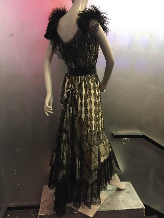 1950s Hand Made Flamenco Inspired Gown Made From Victorian