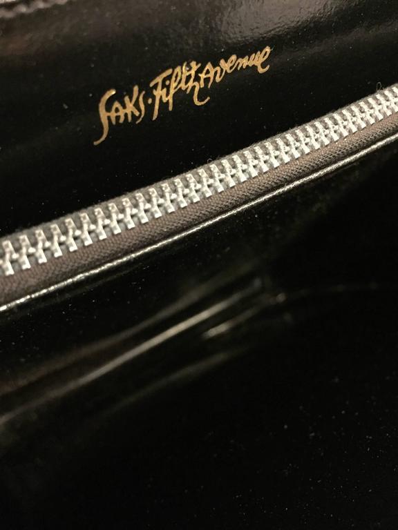 1960s Mod Saks Fifth Avenue Black Calf Skin Shoulder Bag w Chrome Ball Detail  8