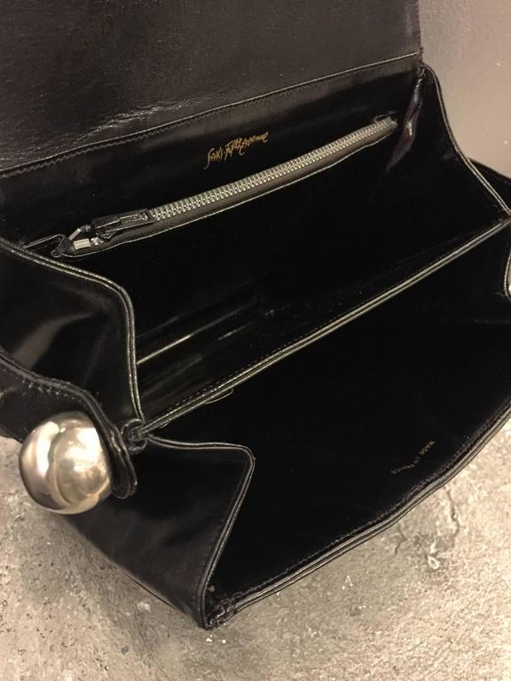 1960s Mod Saks Fifth Avenue Black Calf Skin Shoulder Bag w Chrome Ball Detail  7