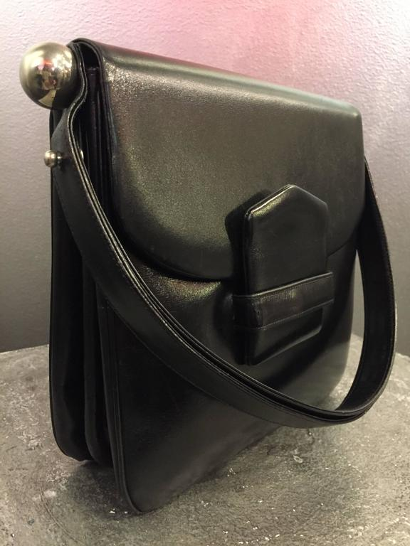 1960s Mod Saks Fifth Avenue Black Calf Skin Shoulder Bag w Chrome Ball Detail  5