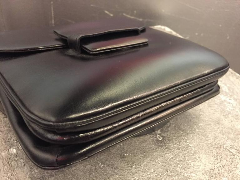 1960s Mod Saks Fifth Avenue Black Calf Skin Shoulder Bag w Chrome Ball Detail  6