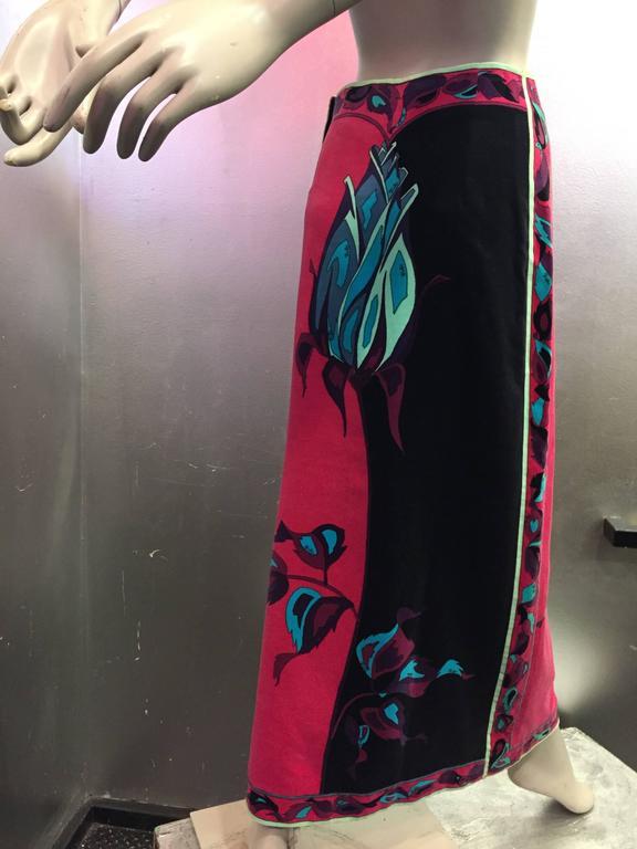 1970s Emilio Pucci Velveteen Maxi Skirt w Rose Print in Fuchsia Black & Blues 4