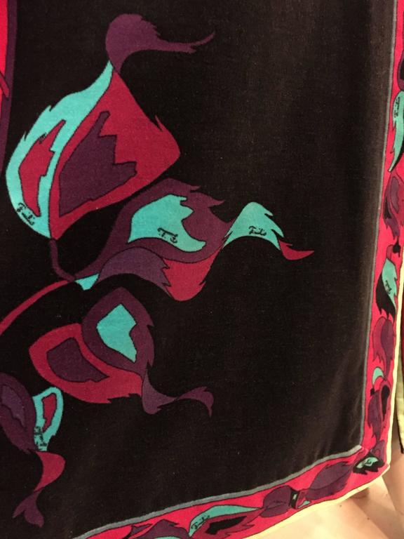 1970s Emilio Pucci Velveteen Maxi Skirt w Rose Print in Fuchsia Black & Blues 5