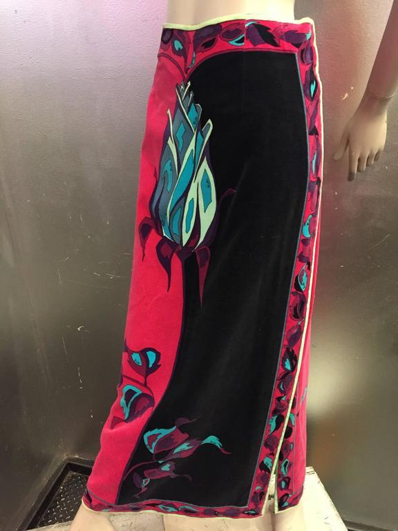 1970s Emilio Pucci Velveteen Maxi Skirt w Rose Print in Fuchsia Black & Blues 6