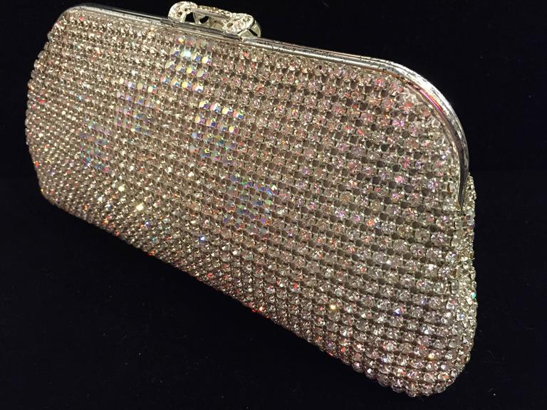 A lovely 1950s Johann Becker rhinestone encrusted convertible evening bag: chain handle tucks inside bag to be used as a clutch. Clean lining.  9