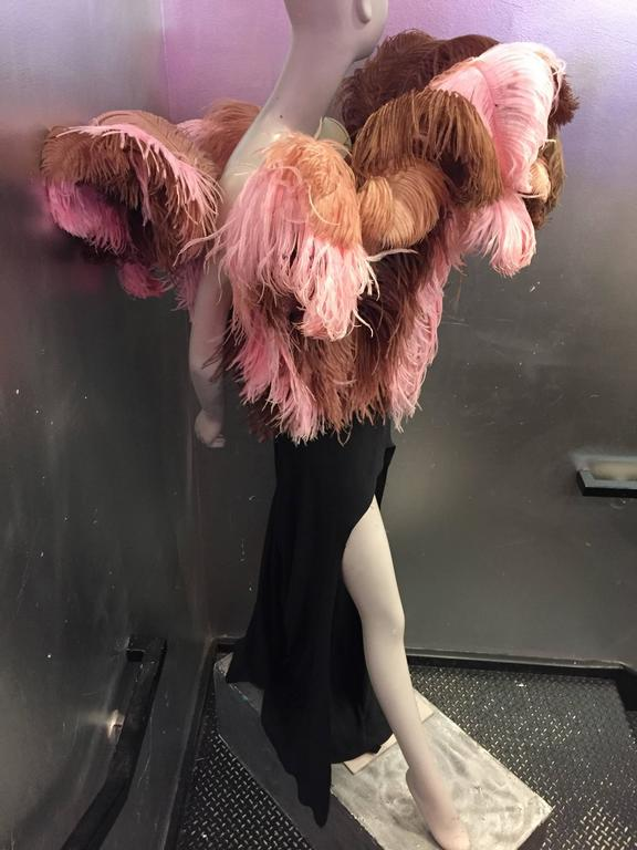 1980s Tilmann Grawe Avant Garde Crepe Gown with Exuberant Fountain of Feathers 5