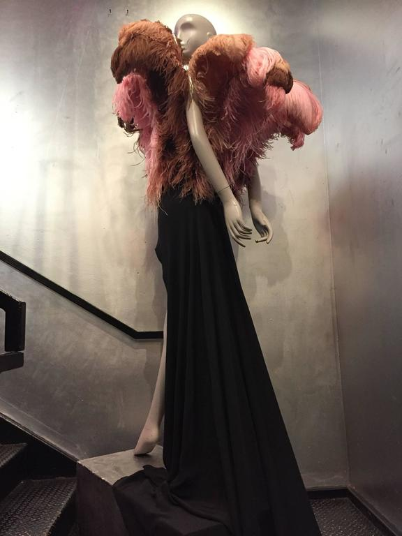 1980s Tilmann Grawe Avant Garde Crepe Gown with Exuberant Fountain of Feathers 8
