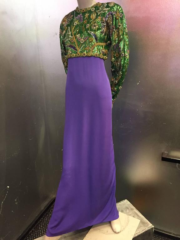 1980s Oscar de La Renta Beaded Floral Motif Attached Bolero w Purple Crepe Gown 2