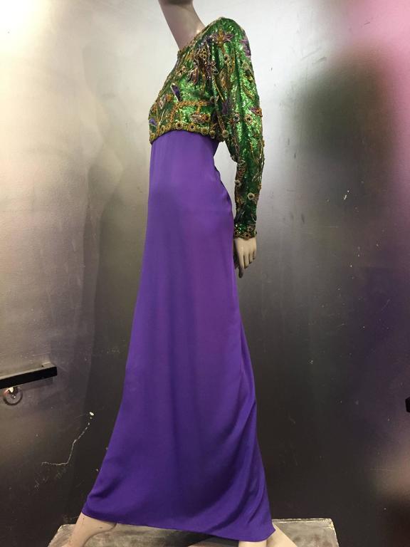 1980s Oscar de La Renta Beaded Floral Motif Attached Bolero w Purple Crepe Gown 3