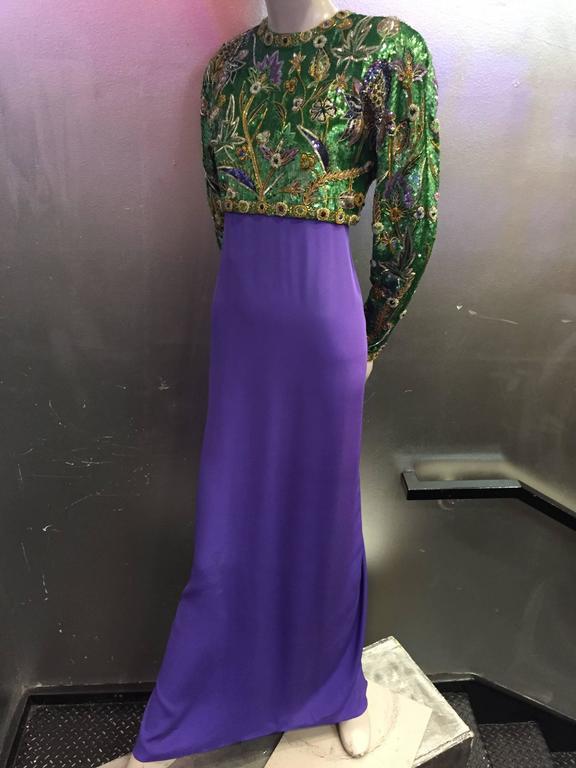 1980s Oscar de La Renta Beaded Floral Motif Attached Bolero w Purple Crepe Gown 4