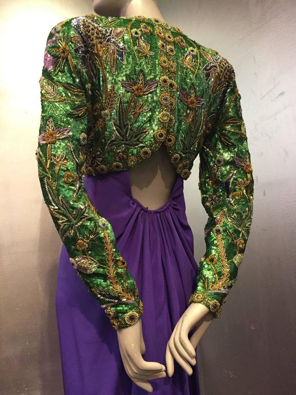1980s Oscar de La Renta Beaded Floral Motif Attached Bolero w Purple Crepe Gown 5