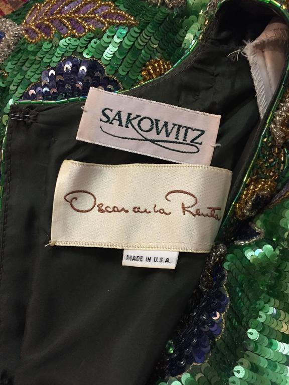 1980s Oscar de La Renta Beaded Floral Motif Attached Bolero w Purple Crepe Gown 9