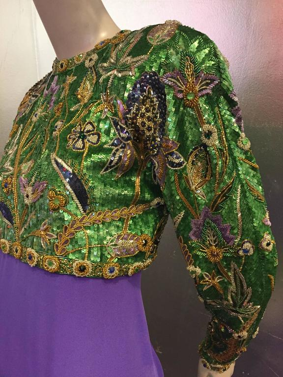 1980s Oscar de La Renta Beaded Floral Motif Attached Bolero w Purple Crepe Gown 6